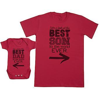 世界で最高の息子 - ベビーギフトセット ベビーボディスーツ&ファーザー's Tシャツ