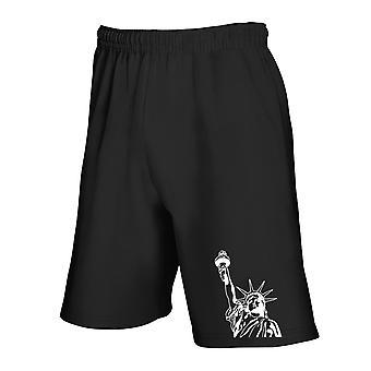 Black tracksuit shorts fun3603 statues of liberty