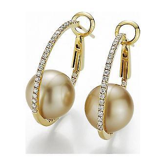 Yana Nesper - Creolen - Damen - Diamantbesetzte, goldfarbene Südseeperlen