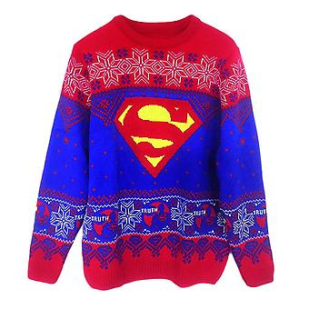Unisex DC Comics Superman Logo Knitted Christmas Jumper