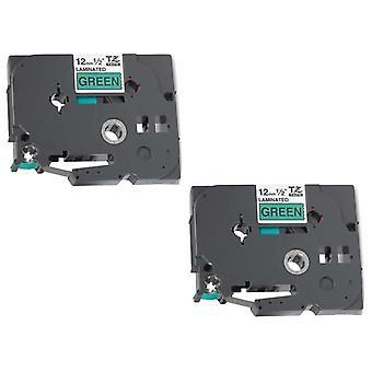 Prestige kaseta™ kompatybilny tz731 czarny na zielonych taśmach etykietowych (12mm x 8m) do drukarek etykiet y tz brother p-touch