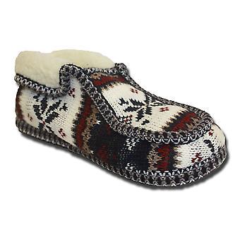 SlumberzzZ femmes tricot Fairisle molleton doublé Slipper péruvien