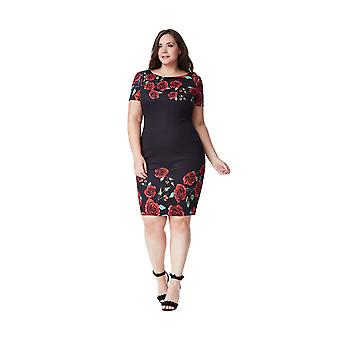 Goddiva Black Rose Print Plus Size Midi Dress