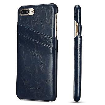 Voor iPhone 8 PLUS,7 PLUS Case, Elegante Deluxe Lederen Beschermhoes, Blauw