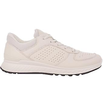 Ecco Womens Exostride Low Leather Lace Up Breathable Trainers - Shadow White