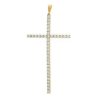 925スターリングシルバーメンズイエロートーンCZキュービックジルコニアシミュレートダイヤモンドクロス宗教ペンダントネックレスチャームジュエリー