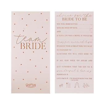 Rose Gold Foiled Hen Party Advice Cards - Team Bride x 10