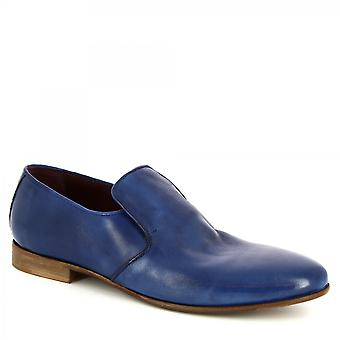 Leonardo Shoes Men's handmade classy loafers shoes in blue calf leather