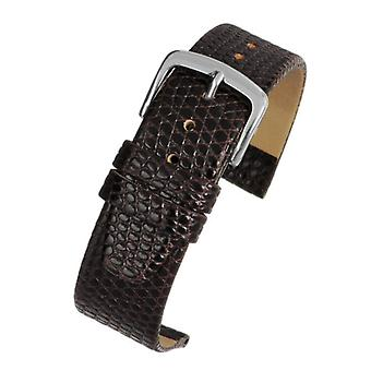 Lizard grain calf leather watch strap brown chrome buckle size 8mm to 20mm