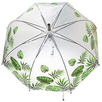 X-Brella Unisex Adults 23in Transparent Tropical Leaf Stick Umbrella