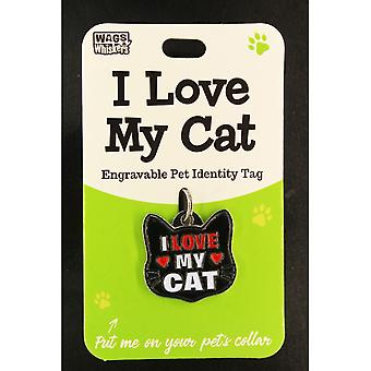 Wags & Whiskers Pet Cat Identity Tag - I Love My Cat