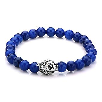 Men's stainless steel bracelet with Buddha head and lapis stones
