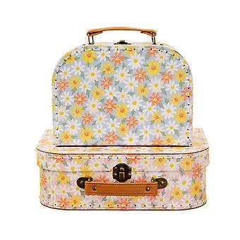 Pink Daisy Set of 2 Decorative Mini Suitcases Gift Home Décoration