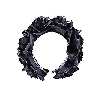 Restyle - black roses gothic headband - black