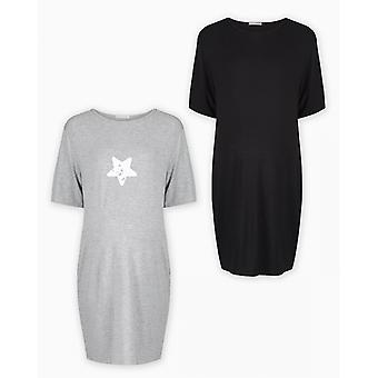 The Essential One 2 Pack Maternity Short Sleeve T-shirt Nighties Small