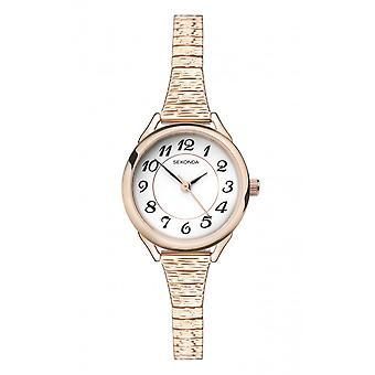 Sekonda Ladies Round White Dial Rose Gold Expanding Bracelet Watch 2639