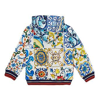 Dolce & Gabbana Cotton Hoodie With Majolicas Print