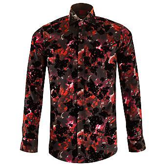 Guide London Black/Red Marble Effect Print Mens Shirt