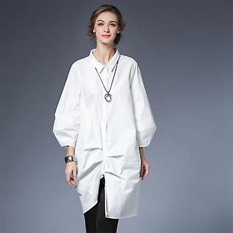 Fold Stiting Loose Big Size Long Blouse