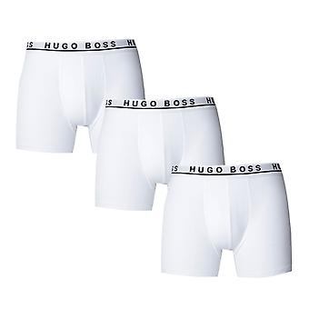 BOSS Three Pack Regular Rise White Boxer Briefs