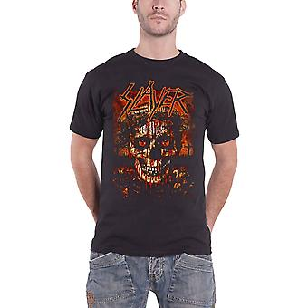 Slayer T-paita Bloody crowned death skull Band logo virallinen Mens New Black