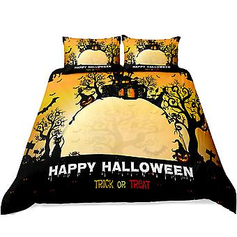 Quilt cover, soft mildew-proof bedding, Halloween printed quilt cover with zipper, with pillowcase