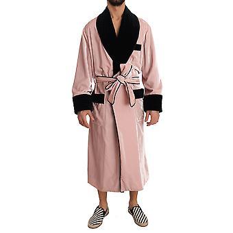 Dolce & Gabbana SILK Robe Nightgown Pink Velvet Negro -- JKT1416432