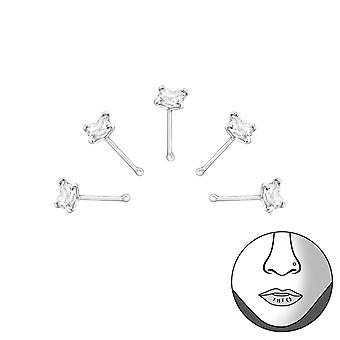 Square - 925 Sterling Silver + Cubic Zirconia Nose Studs - W33350x