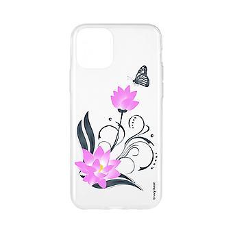 Casco para iPhone 11 Pro Max patrón de flor de loto suave y mariposa