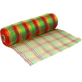 Foiled Traditional Christmas 25cm x 9.1m Deco Mesh Roll for Wreath Making & Floristry