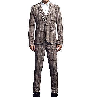 Allthemen mäns kostymer 3-bitar passar plädar ull Blazer & byxor & Vest