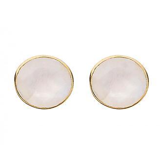 Gemshine Ladies örhängen stud örhängen med vita månstenar i cabochon cut