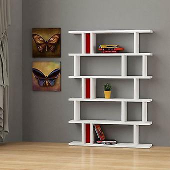 Libreria Tote Color Bianco, Rosso, Nero in Truciolare Melaminico 120x30x168 cm