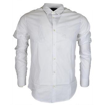 Emporio Armani 8n1c09 katoen gestikte Logo lange mouw wit Shirt
