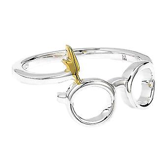 Harry Potter Sterling Silver Lightning Bolt och glasögon Ring