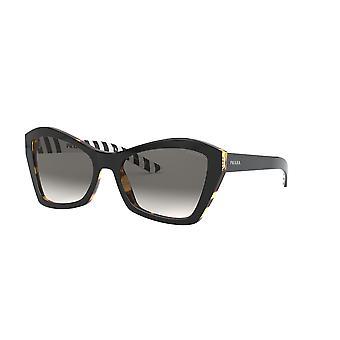 Prada Millennials SPR07X NAI130 Top Black-Medium Havana/Gradient Grey Mirror Silver Sunglasses