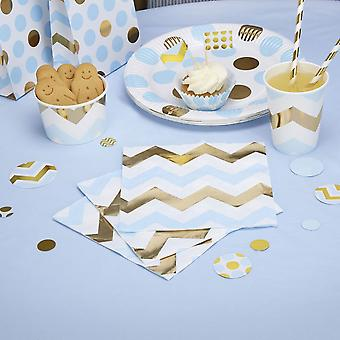 Blue, White and Gold Chevron Napkins x 16 Party Tableware / Baby shower