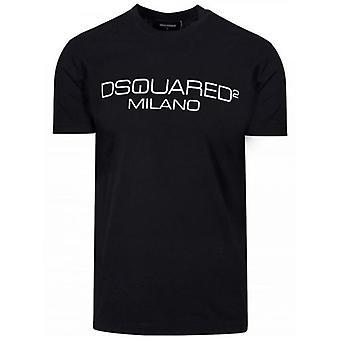 DSQUARED2 Musta Painettu Milano Logo T-paita