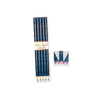 Pack 5 Totally Fierce Make A Note Gem Topped Pencils Set