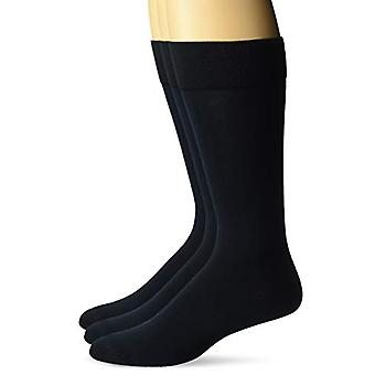 BUTTONED DOWN Men's 3-Pack Pima Cotton Dress Socks, Navy, Shoe Size: 8-12