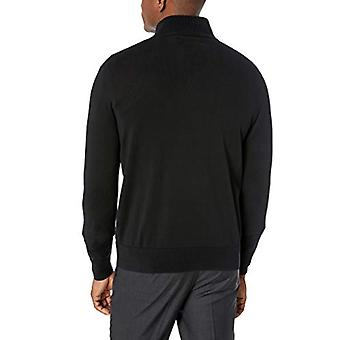 BUTTONED DOWN Men's Supima Cotton Lightweight Quarter-Zip Sweater, black, X-Large
