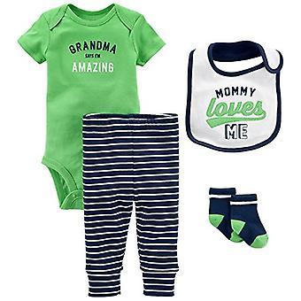 Simple Joys by Carter's Baby Boys' 4-Piece Bodysuit, Pant, Bib and Sock Set, ...