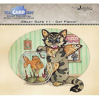The Card Hut Crazy Cats Cat Fishin' Clear Stamps