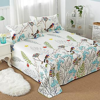 Cozy Breathable Linen Flower Printed Bed Sheet Bedding Coverlet Right Angle Flat