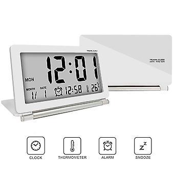 Loskii dc-11 electronic alarm clock travel clock  multifunction silent lcd digital large screen folding desk clock with temperature date time calendar