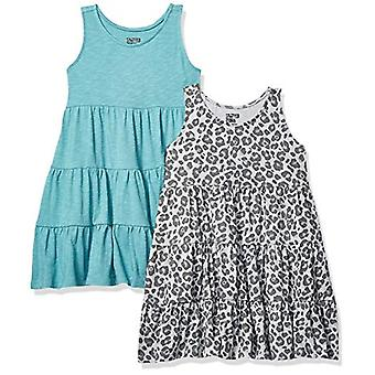 Spotted Zebra Girls' Big Kid 2-Pack Knit Sleeveless Tiered Dresses, Cheetah/T...