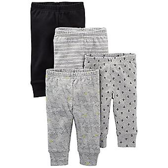 Simple Joys by Carter's Baby Boys' 4-Pack Pant, Black/Gray/Dino/Anchor, Preemie