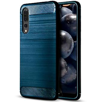 Shell for Huawei P20 Pro Blue Carbon Fiber Armor Case Protection