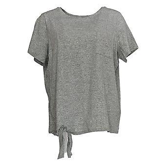 Anybody Women's Top Cozy Knit Side Tie T-Shirt W/Pocket Gray A353777