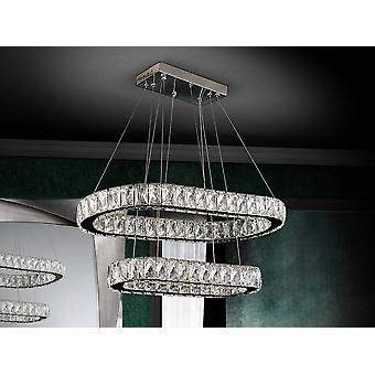 Zintegrowany wisiorek sufitowy LED ściemnialny kryształowy z pilotem Chrome